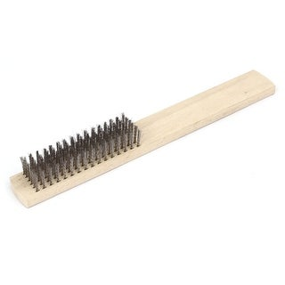 75mm x 20mm Stainless Steel Bristle Wood Shoe Handle Wire Scratch Brush