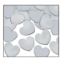 Club Pack of 12 Silver Fanci-Fetti Heart Celebration Confetti Bags 1 oz.