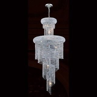 "Worldwide Lighting W83029C16 Empire 10 Light 1 Tier 16"" Chrome Chandelier with Clear Crystals"