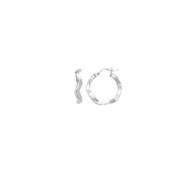 Mcs Jewelry Inc 14 KARAT WHITE GOLD TWISTED HOOP EARRINGS