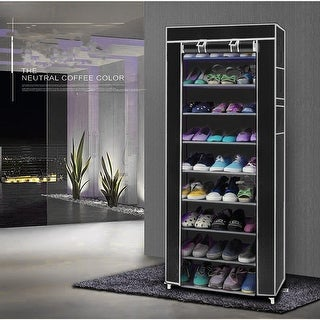 Link to 10-Layers 9 Lattices Non-woven Fabric Shoe Rack Black Similar Items in Storage & Organization