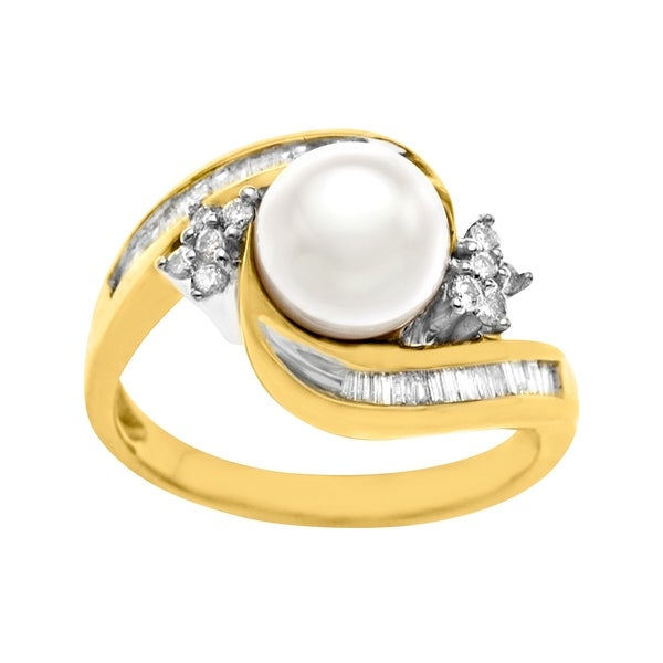 7.5 mm Pearl and 3/8 ct Diamond Ring in 14K Gold