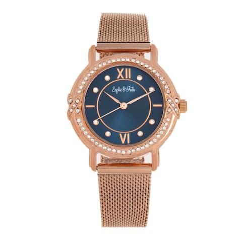 Sophie and Freda Reno Bracelet Watch w/Swarovski Crystals - Rose Gold/Navy