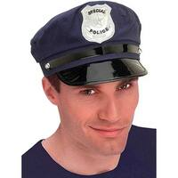 Police Costume Hat Adult One Size - Blue