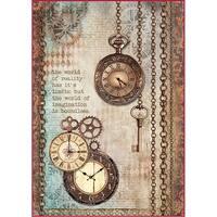 Stamperia Rice Paper Sheet A4-Clockwise Clock & Keys