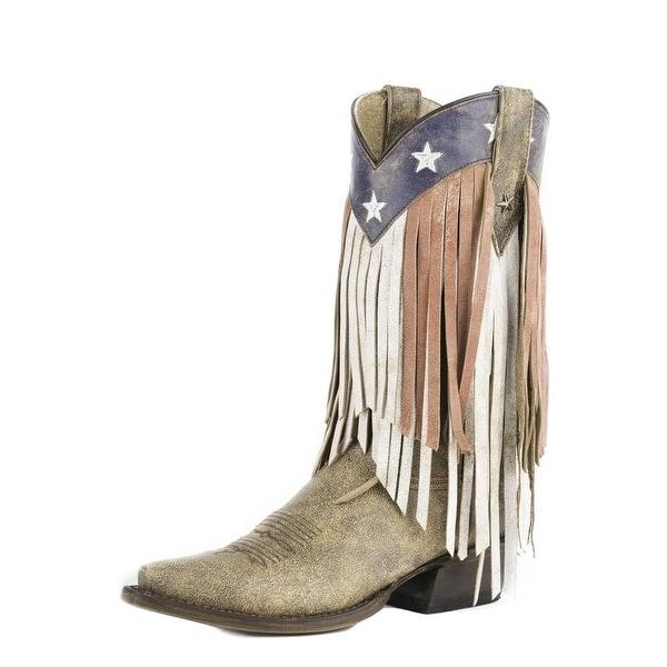 Roper Western Boots Womens Americana Flag B Brown