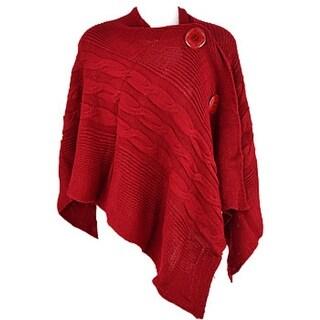 CK092 Knit Big Button Cape Poncho -Red