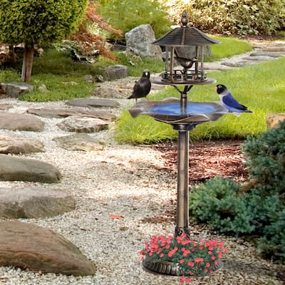 Outsunny 3-in-1 Resin Free Standing Garden Pedestal Bird Bath Bowl Feeder Planter - Bronze