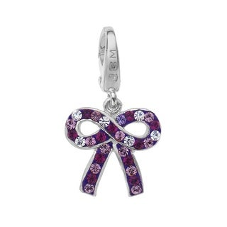 Purple, Lavender & White Crystal Bow Charm in Sterling Silver - Purple