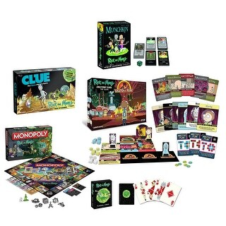 Rick and Morty Game Bundle: Anatomy Park, Munchkin, Cards, Clue & Monopoly Games - multi