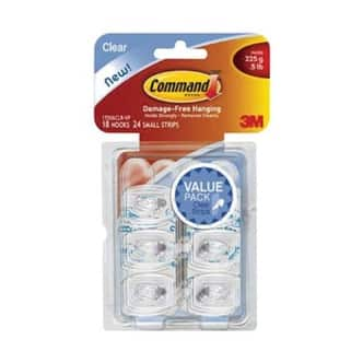 Command 17006CLR-VP Mini Hooks With Clear Strips Value Pack