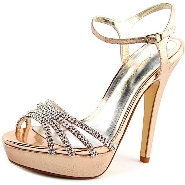 Caparros Belle Women Open Toe Synthetic Gold Platform Heel