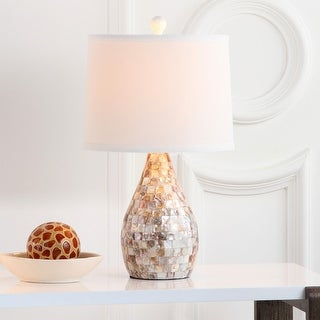 "Link to Safavieh Lighting 21-inch Mother of Pearl Table Lamp (Set of 2) - 12""x12""x20.5"" Similar Items in Table Lamps"