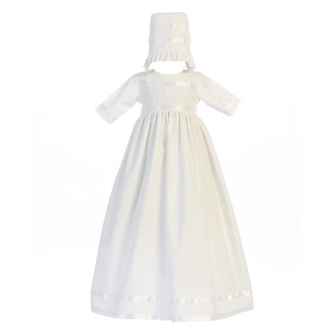 Baby Girls White Embroidered Shamrocks Bridget Hat Baptism Dress