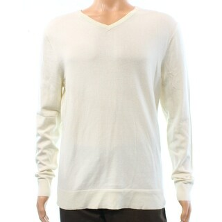 Alfani NEW White Ivory Mens Size 2XL Pullover Ribbed V-Neck Sweater