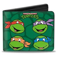 Classic Teenage Mutant Ninja Turtles Group Faces + Pose Turtle Shell Black Bi-Fold Wallet - One Size Fits most