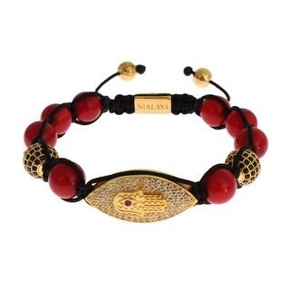 Nialaya Nialaya CZ Red Coral Gold 925 Silver Bracelet - s
