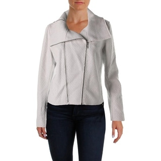 Elie Tahari Womens Melanie Textured Mixed Media Motorcycle Jacket