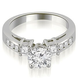 1.10 cttw. 14K White Gold Prong Set Round Cut Diamond Engagement Ring