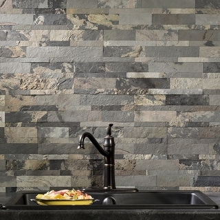 Link to Aspect 6 x 24-inch Medley Slate Peel and Stick Stone Backsplash Similar Items in Tile
