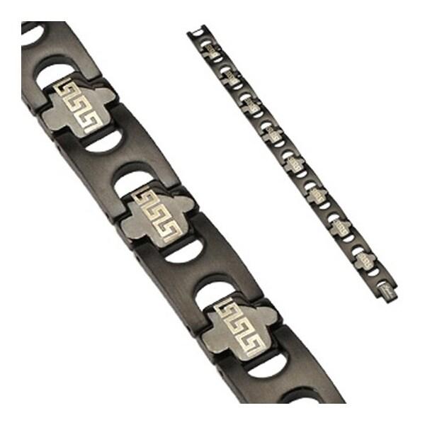 Stainless Steel Black Plated Tribal Link Logo Bracelet (15 mm) - 8.75 in