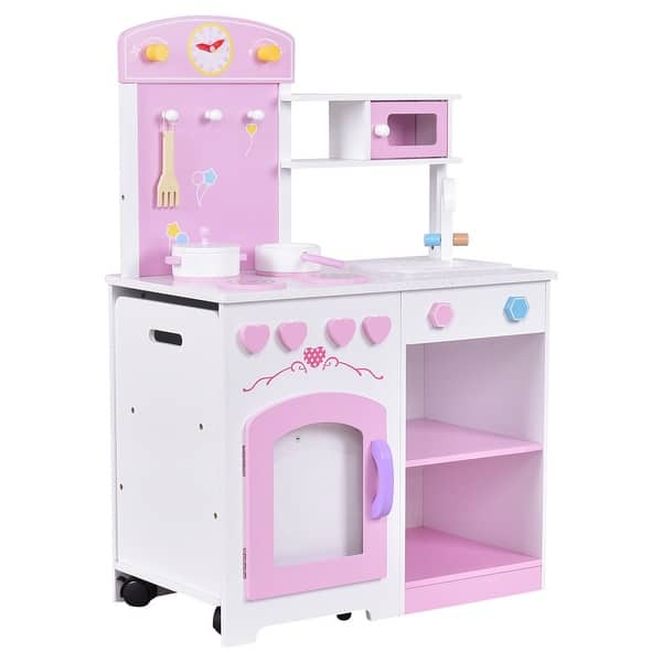 dcb8e3aa87a0 Gymax 2 in 1 Kids Kitchen Play Set Wood Pretend Toy Cooking Set Toddler  with Chair - Pink + White