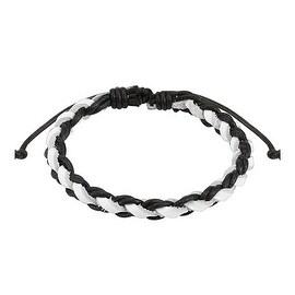 Black and White Braided Leather Bracelet with Drawstrings (10 mm) - 7.5 in