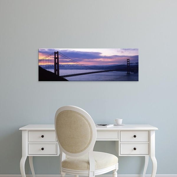 Easy Art Prints Panoramic Image 'Suspension bridge at dusk, Golden Gate Bridge, San Francisco, California' Canvas Art