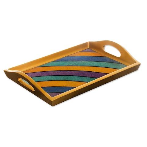 "Handmade Mineral Memoirs Reverse Painted Glass Tray (Peru) - 2.2"" H x 13.5"" W x 9"" D"