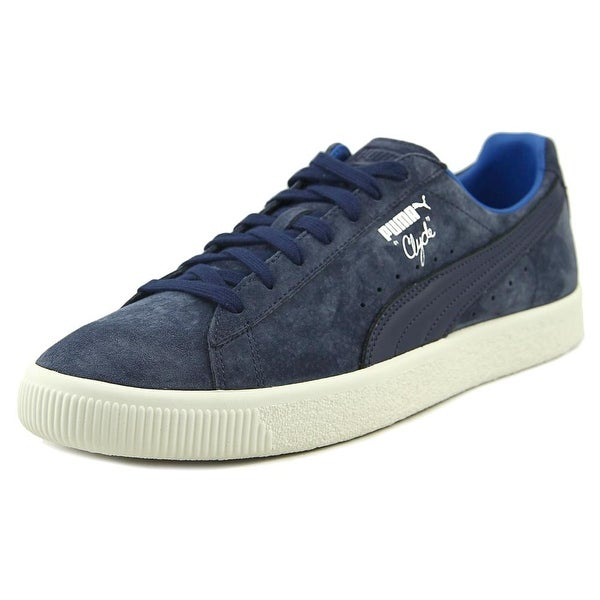 Puma Clyde Men Round Toe Suede Blue Sneakers