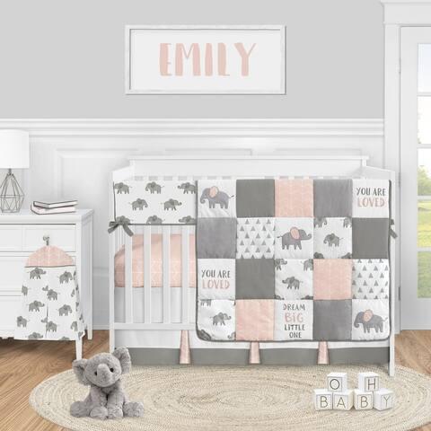 Pink Elephant Safari Collection Girl 5-piece Nursery Crib Bedding Set - Blush Grey and White Watercolor Animal