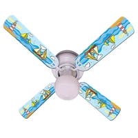 Sail Boats on the Sea Print Blades 42in Ceiling Fan Light Kit - Multi