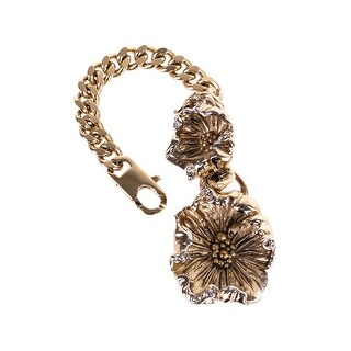 Roberto Cavalli Gold Tone Double Floral Charm Roped Keychain