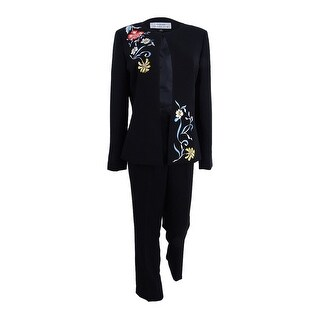 Tahari ASL Women's Plus Size Embroidered Pantsuit (20W, Black) - Black - 20W