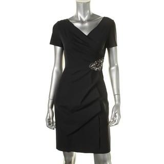 Alex Evenings Womens Petites Embellished Surplice Cocktail Dress - 6P
