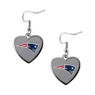 NFL New England Patriots Heart Shape Dangle Logo Earring Set Charm Gift(Not Swirl)