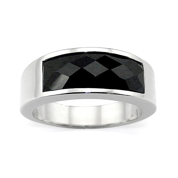 8.5mm Stainless Steel Ring with Faceted Black Resin Center - (Sizes 8-11)