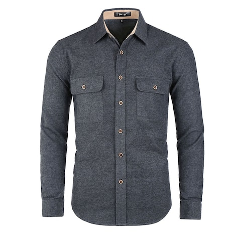 Men Casual Shirt Brushed Long Sleeve Button Pockets Cotton Overshirt - Dark Gray