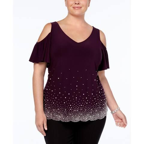 MSK Purple Womens Size 1X Plus Embellished Cold- Shoulder Blouse