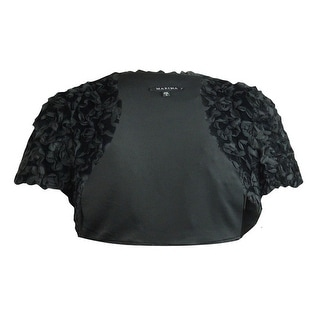 Marina Women's Textured Cap Sleeve Faux Fur Bolero Jacket