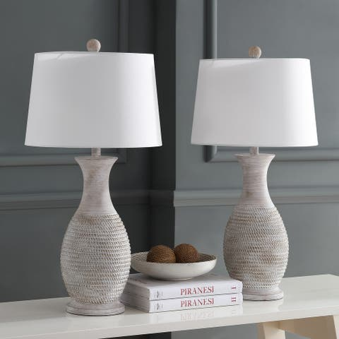 "Safavieh Lighting 30-inch Bentlee Grey LED Table Lamp (Set of 2) - 15""x15""x30"""