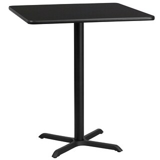 "Dyersburg 36'' Square Black Laminate Table Top w/42"" High X-Base"