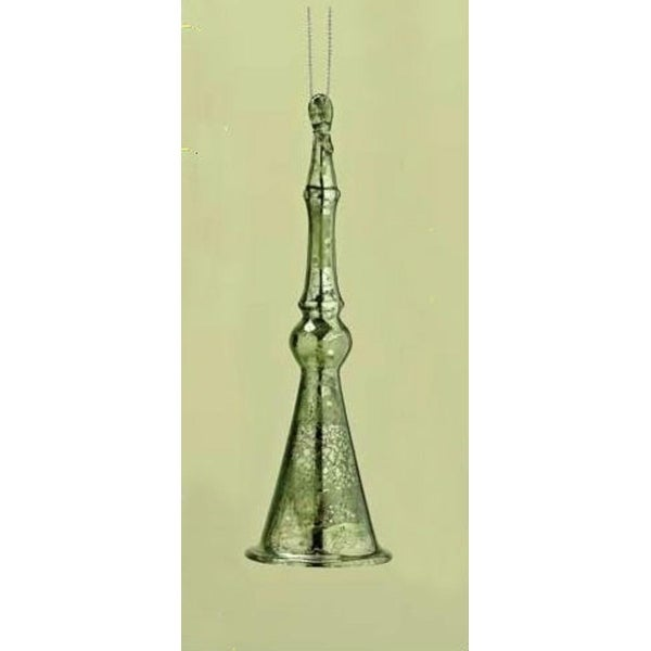 """6"""" Distressed Good Tidings Green Icicle Bell Glass Christmas Ornament"""