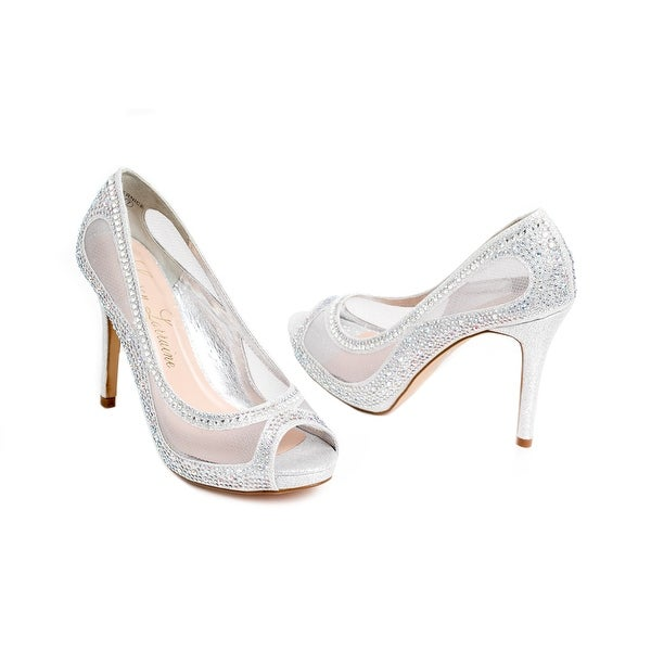 Embellished Mesh Peep-Toe Pump