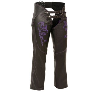 Womens Leather Chaps Reflective Tribal Embroidery (More options available)