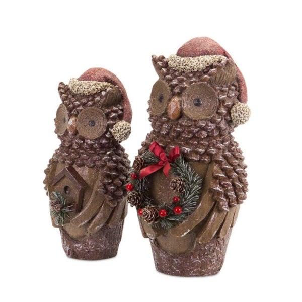 Set of 2 Glittery Pine Cone Owl Christmas Figures Wearing Santa Hats