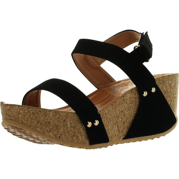 Forever Link Womens Freya-34 Fashion Stud Embellished Low Top Wedge Sandals - Tan