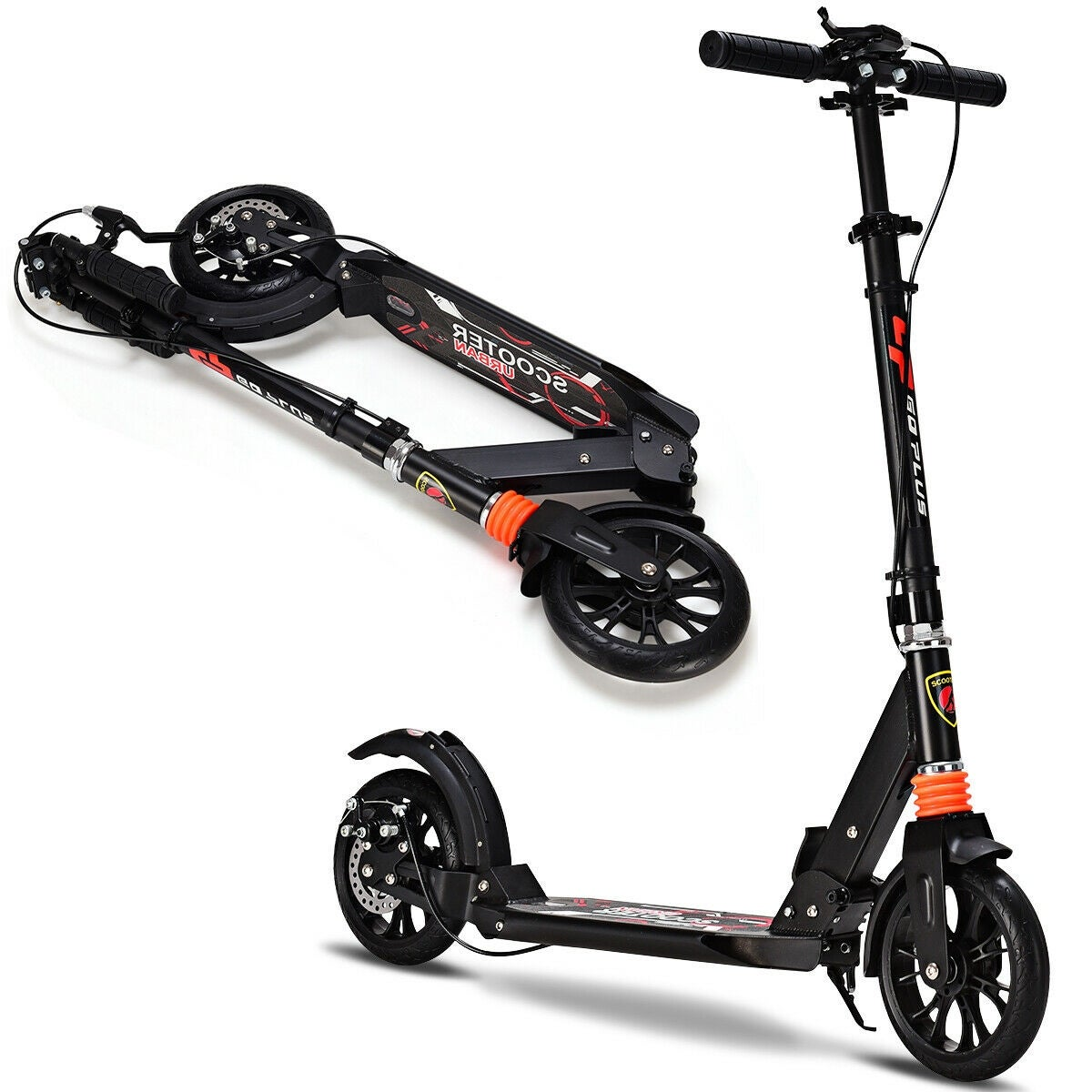 Adult Foldable Kick Scooter Adjustable Height Suspension Scooter Rear Suspension