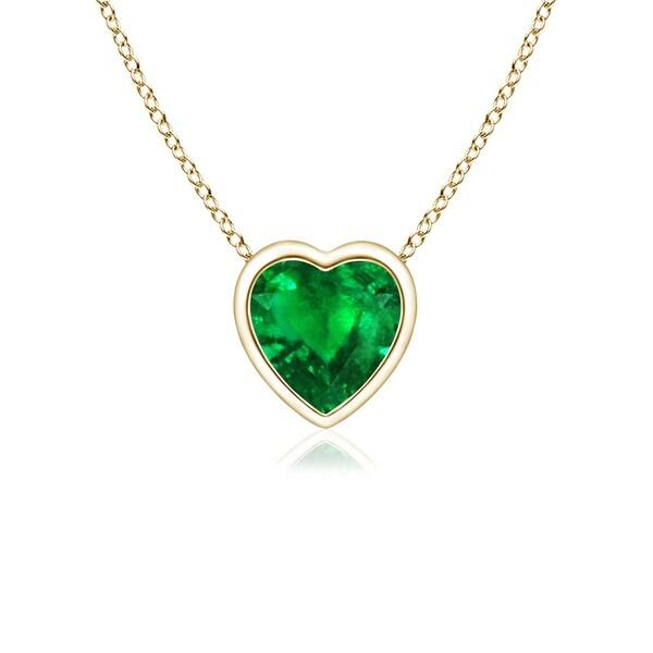 Angara Heart Shaped Emerald Necklace in Yellow Gold NtN2rxyx