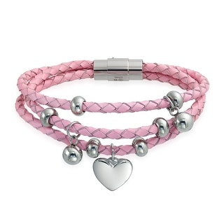 Bling Jewelry Dangling Heart Charms Pink Braided Leather Bracelet Steel
